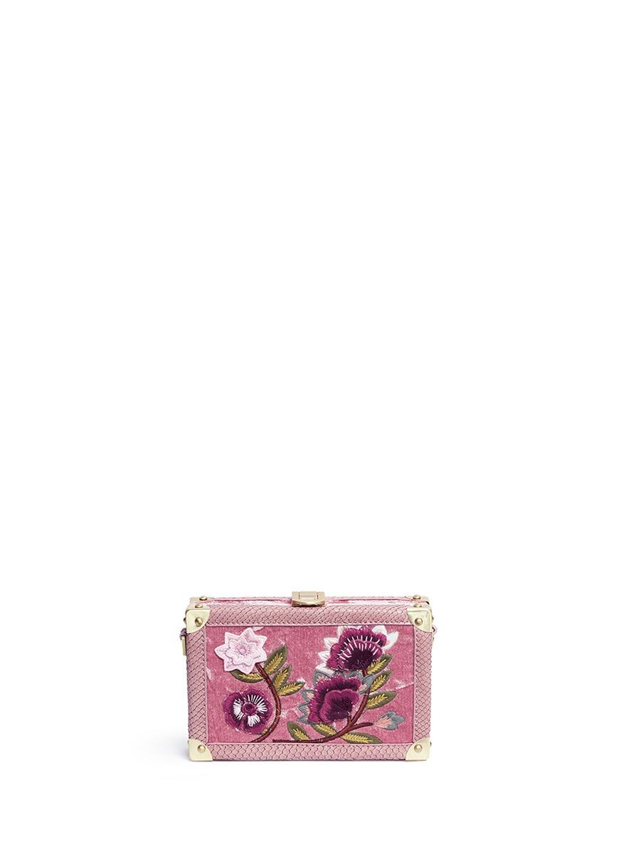 'Gabrielle' floral embroidered velvet box clutch