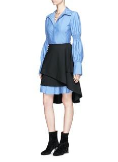 ADEAM Pearlescent button asymmetric cascade overlay skirt