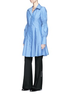 ADEAM Smocked effect sleeve pleated shirting dress