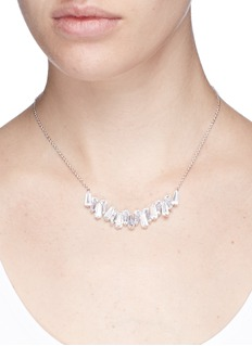 CZ by Kenneth Jay Lane Baguette cluster bar cubic zirconia pendant necklace