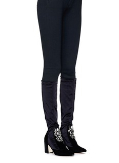 RODO Embellished velvet stretch satin knee high sock boots