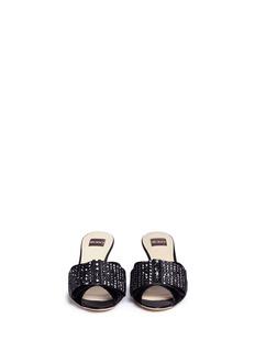 RODO Glass crystal satin bow velvet sandals