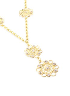 Buccellati Diamond 18k gold floral station pendant necklace