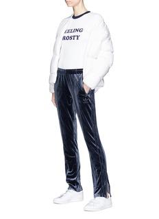 Adidas 'Fire Bird' 3-Stripes outseam velvet track pants