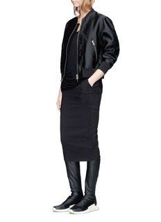 Rick Owens Virgin wool-silk hopsack skirt