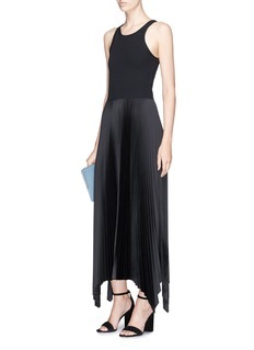 Theory 'Vinessi' rib knit pleated sateen tank dress