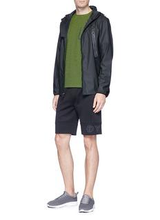 Dyne Mesh panel rubberised zip hoodie