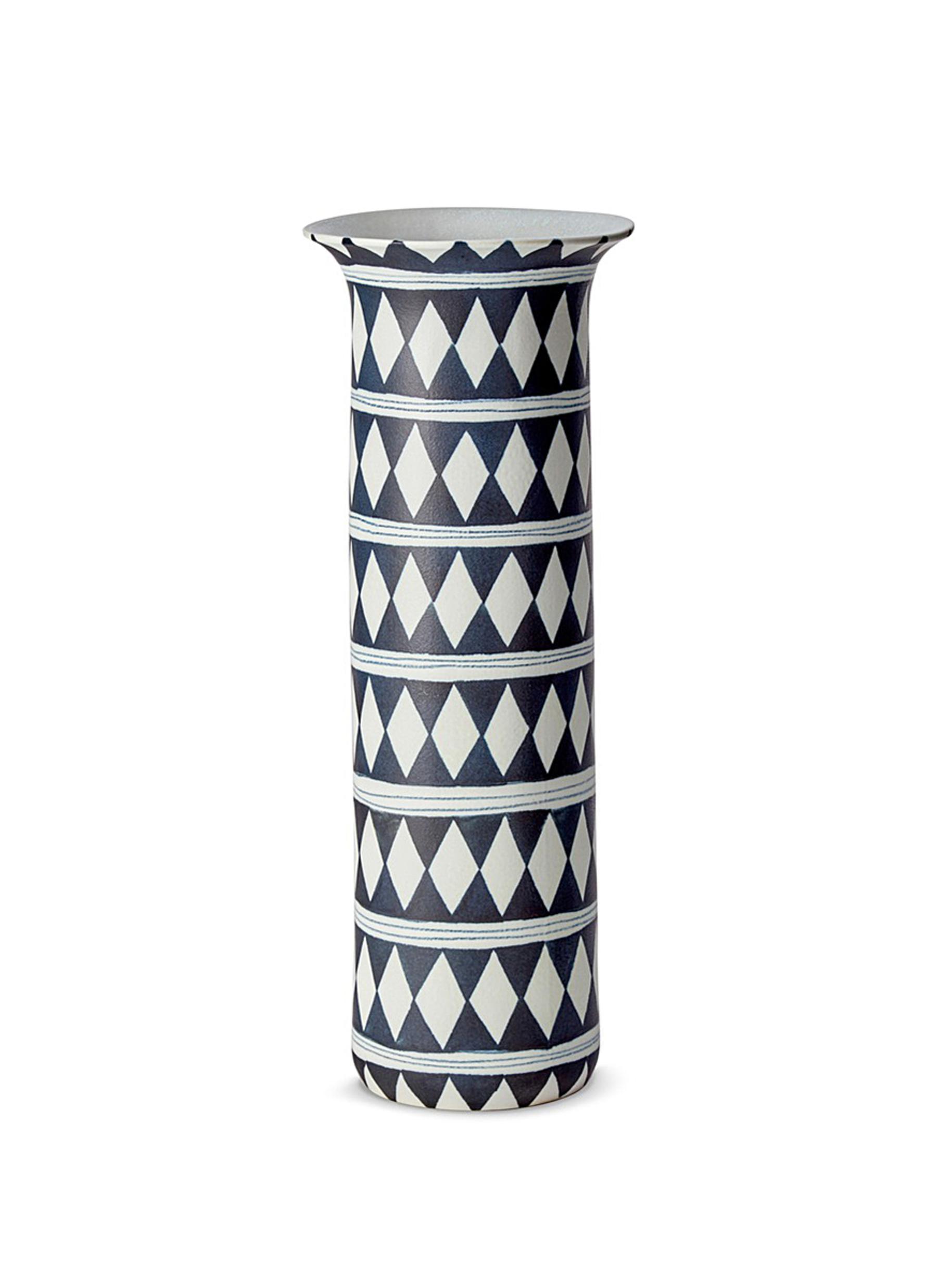 lobjet female tribal large diamond vase blue