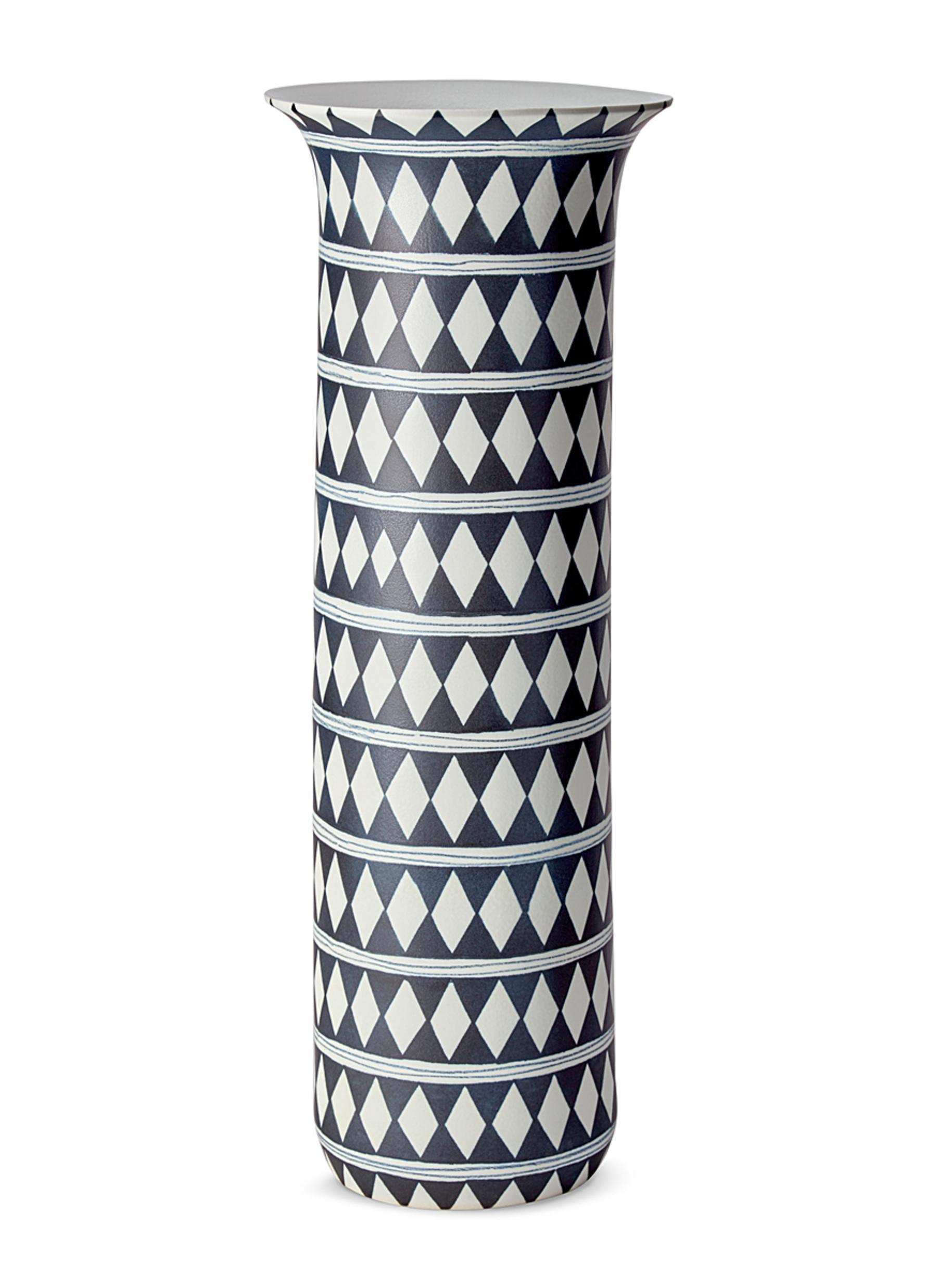 lobjet female tribal xlarge diamond vase blue