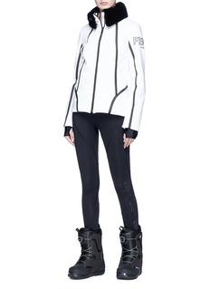 Fendi Sport Mink fur collar contrast taping ski jacket