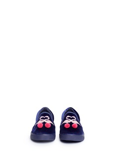 Sophia Webster 'Kingston Flamingo' embroidered velvet toddler skate slip-ons