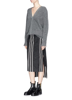 Aalto Stripe wool blend melton high-low skirt