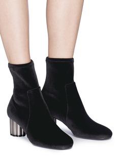 Salvatore Ferragamo 'Capua' metallic flower heel velvet boots