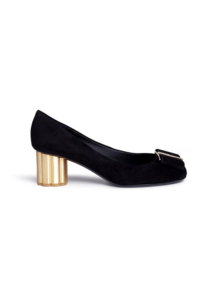 Main View - Click To Enlarge - Salvatore Ferragamo - 'Capua' metallic flower  heel