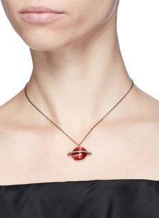 Astley Clarke'Agate Saturn' diamond 14k rose gold pendant necklace