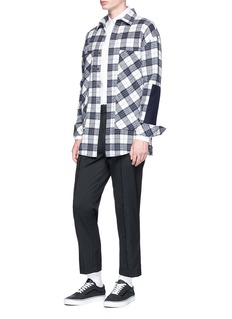 The World Is Your Oyster Felt panel check plaid flannel shirt