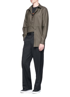 The World Is Your Oyster Divided placket twill shirt