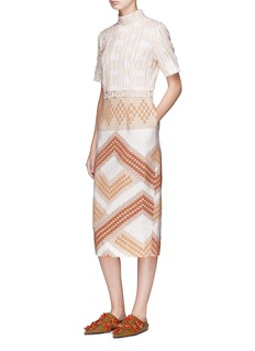 TOTON 'Maros' stripe fil coupé ethnic jacquard dress