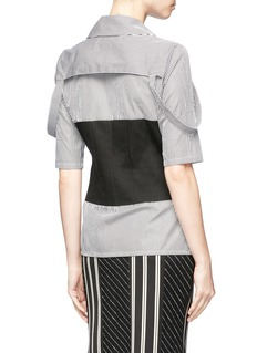 Aalto Button shoulder strap mock corset stripe poplin shirt