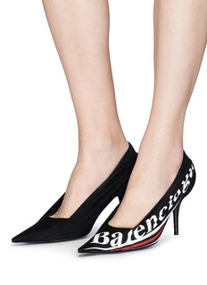 Balenciaga 'Knife' presidential logo print ruched jersey pumps
