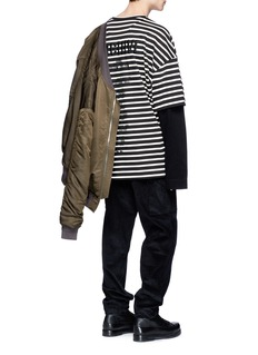 Juun.J 'ARCHIVE' embroidered stripe oversized long sleeve T-shirt