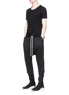 Rick Owens Dropped crotch virgin wool-silk cropped jogging pants