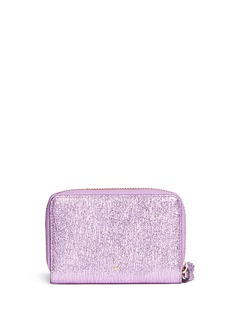 Anya Hindmarch 'Smiley' crinkled metallic leather compact zip wallet
