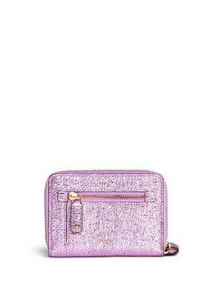 Anya Hindmarch 'Smiley' crinkled metallic leather small zip wallet