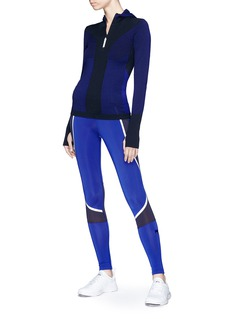 Adidas By Stella Mccartney 'Run Ultra' mix stripe hooded knit top