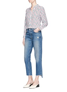 Equipment 'Leema' belt stripe print silk crepe shirt