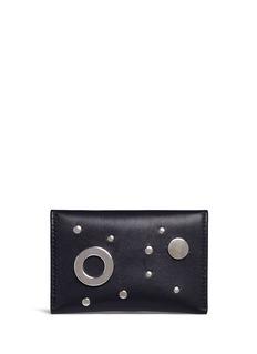 Alexander McQueen Skull eyelet and stud leather envelope card holder