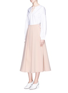 Co Pleated front crepe A-line midi skirt