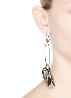 Alexander McQueen Portoro stone drop single hoop earring