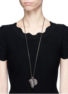 Alexander McQueen Portoro stone mermaid disc pendant necklace
