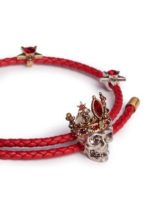 Detail View - Click To Enlarge - Alexander McQueen - 'Queen' Swarovski crystal skull charm friendship bracelet
