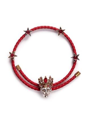 Main View - Click To Enlarge - Alexander McQueen - 'Queen' Swarovski crystal skull charm friendship bracelet