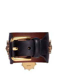 Alexander McQueen Swarovski crystal padlock leather cuff