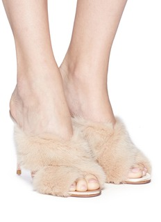 Aquazzura 'Purr 105' mink fur mule sandals