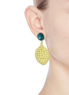 Venessa Arizaga 'Lemonade' rhinestone crochet fruit drop earrings