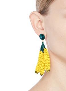 Venessa Arizaga 'Banana Split' rhinestone crochet fruit drop earrings