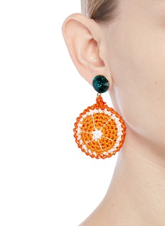 Venessa Arizaga 'Orange Slice' rhinestone crochet fruit drop earrings