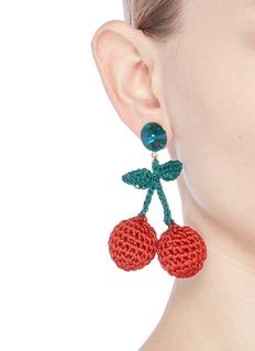 Venessa Arizaga 'Cherry Picking' rhinestone crochet fruit drop earrings