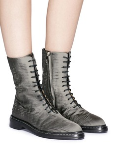 The Row 'Fara' distressed satin combat boots