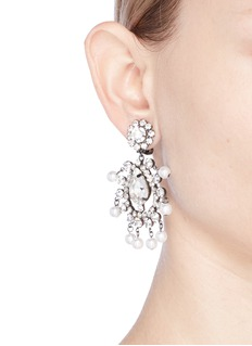 Kenneth Jay Lane Glass crystal and pearl drop clip earrings
