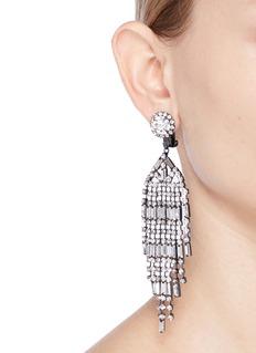 Kenneth Jay Lane Glass crystal waterfall clip earrings