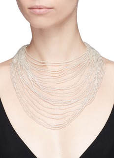 Kenneth Jay Lane Tiered beaded bib necklace