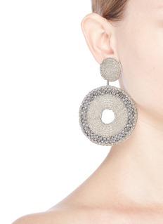 Kenneth Jay LaneBeaded cutout circle drop earrings