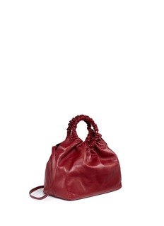 The Row 'Double Circle' ruched handle medium leather crossbody bag
