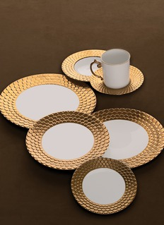 L'Objet Aegean teacup and saucer two-piece set – Gold