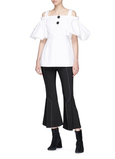 Ellery 'Bordeaux' off-shoulder flared sleeve drill top